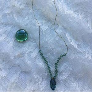 Jewelry - 106: Green Crystal Silk Tie Necklace